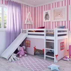 Cama Alta Kids com Escorregador e Cabaninha Rosa - Branco