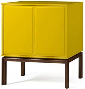 Bar Adega 2 Portas e 1 Gaveta Quartzo 801 Cacau/Amarelo - Maxima