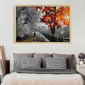 Quadro Love Decor Com Moldura Colors Under Gray Madeira Clara  Médio