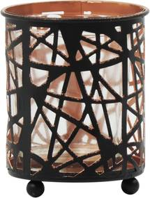 Porta Vela Kasa Ideia de Metal Geometric Design 8x7,5cm