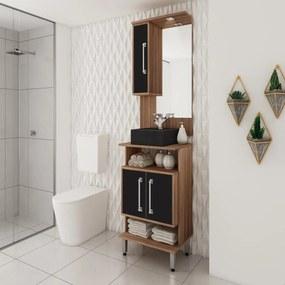 Armário de Banheiro 600C1PR Castanho/Preto - Ozini Móveis