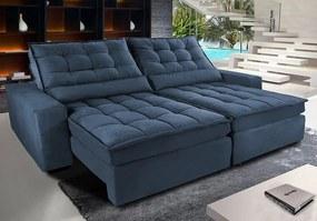 Sofá Retrátil E Reclinável Com Molas Ensacadas Cama Inbox Gold 2,12m Tecido Suede Velusoft Azul