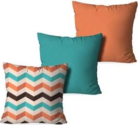 fa5eab001 Kit 3 Capas Love Decor para Almofadas Decorativas Geometrico Multicolorido  Laranja