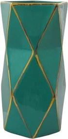 Vaso Decorativo Médio em Porcelana Verde e Dourado