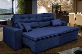 Sofá Cairo 2,02m Retrátil, Reclinável Com Molas No Assento E 4 Almofadas Tecido Suede Veludo Azul - Cama Inbox