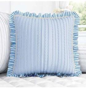 Almofada Azul Quadrada Tricot Listras 38cm Grão de