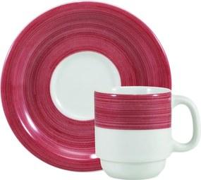Xicara para Café c/ Pires Porcelana Schmidt - Dec. Cilíndrica Pintura à Mão Vermelho