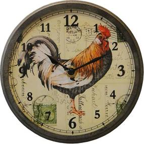 Relógio Pequeno Galo de Vidro Curvo