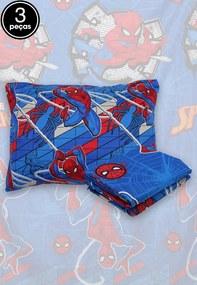 Jogo de Cama Solteiro Lepper 3Pçs Spider Man 1,40 m x 2,20 m Azul