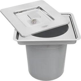 Lixeira de Embutir Tramontina Clean Square em Aço Inox com Balde Plástico 5 L 94518205