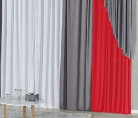 Cortina Elis 4,00m x 2,60m Varão Duplo - Vermelho / Cinza / Branco