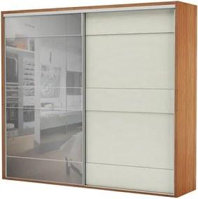 Armario Premium com Espelho 2 Portas e 4 Gavetas cor Freijo com Off White Brilho 2,67 MT (LARG) - 56461 Sun House