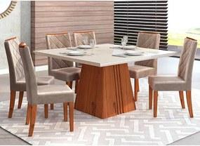 Mesa de Jantar Paris 140cm Rústico Terrara Off White + 6 Cadeiras Sara Veludo Kraft
