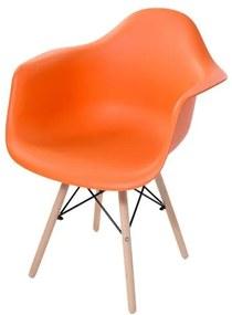 Cadeira Arm com Braco Laranja Fosco Base Madeira Clara - 51958 Sun House