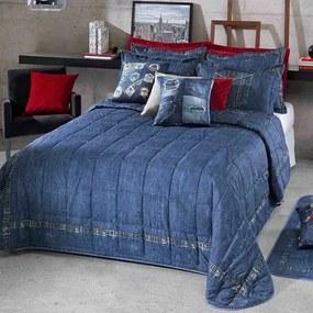 Kit Colcha / Cobre Leito Solteiro Estampa Jeans Versatile - Hedrons