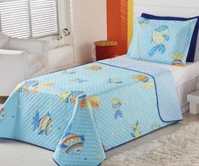 Cobre Leito Infantil Solteiro Oceano Peixinho com 2 peças - Aquarela