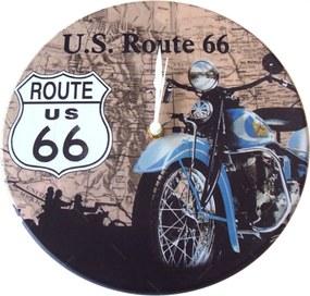 Relógio de Parede Route 66 Moto Azul em Madeira MDF - 28 cm
