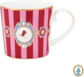 Caneca Pequena Medallion Stripes Rosa e Vermelho Love Birds Pip Studio