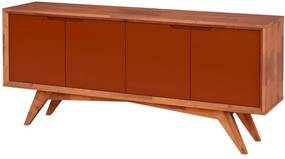 Buffet Querubim 4 Portas Natural e Marrom - Wood Prime MP 27593