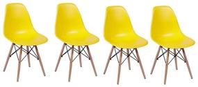 Conjunto com 4 Cadeiras Eiffel Base Madeira - Amarelo