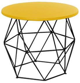 Mesa de Centro Decorativa Eiffel Tampo Amarelo Aramado Preto