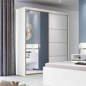 Guarda-Roupa Blima (L: 207 cm) C/ 2 Portas De Correr C/ Espelho 100%
