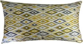 Capa almofada LYON Veludo estampado Losangos Amarelo 30x50cm