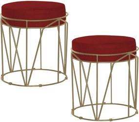 Kit 2 Puffs Decorativo Sala de Estar Base Gold Chloe Veludo Vermelho - Gran Belo