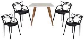 Conjunto Mesa Square Quadrada Branco Fosco 90x90cm + 4 Cadeiras Allegra Preta
