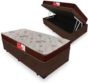 Cama Box Com Baú Solteiro + Colchão De Molas - Prorelax - Cristal 88x188x60cm Marrom