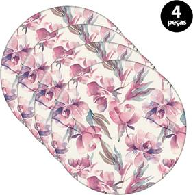 Capa para Sousplat Mdecore Floral Rosa6pçs
