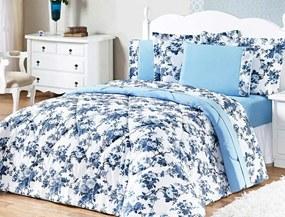 Jogo de Cama Murano Queen Azul Floral com 3 peças - Aquarela
