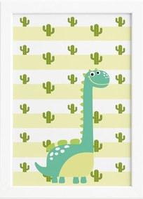 Quadro Infantil Dinossauro Baby Verde 33x43 Moldura Branca