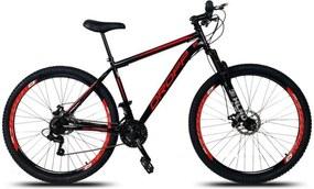 Bicicleta Aro 29 Quadro 17 Aço 21 Marchas Suspensão Freio a Disco Mecânico Preto Vermelho Dropp