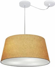 Lustre Pendente Cone Com Desvio Md-4282 Cúpula 21/40x50cm Palha - Bivolt
