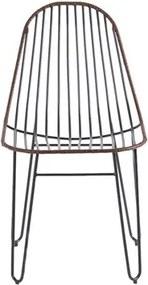 Cadeira Crazy em Aço Carbono com Detalhe em Couro Aço