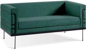Sofá Le Corbusier 2 Lugares Aço Preto Veludo Verde Daf