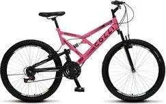 Bicicleta GPS Aro 26 Aço 21 Marchas Dupla Suspensão Freio V-Brake Rosa