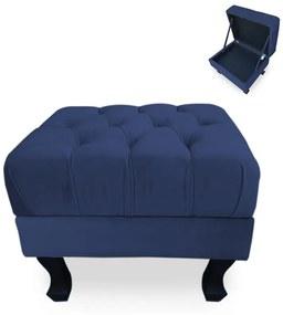 Puff Baú Decorativo Capitonê Luis XV 50x40cm Suede Azul Escuro - Sheep Estofados - Azul escuro