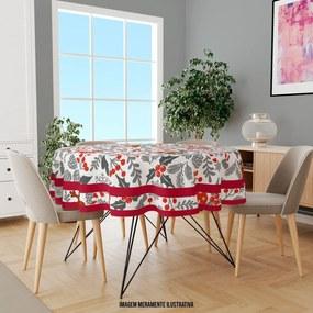 Toalha de Mesa Redonda para 4 Lugares Elementos Natalinos Vermelhos e Cinza 1.45m Único