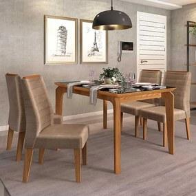 Mesa de Jantar Dália 140cm Carvalho Nobre Preto + 4 Cadeiras Curvata Veludo Kraft