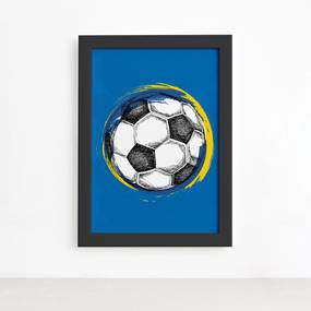Quadro Bola de Futebol Fundo Azul 22x32 Moldura Preta