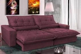 Sofa Retrátil E Reclinável 2,12m Com Molas Ensacadas Cama Inbox Soft Tecido Suede Vinho