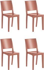 4 Cadeiras Hydra Plus Terracota Solido De Plástico UZ Kappesberg Marrom