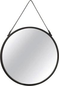 Espelho Redondo Suspenso Decorativo Alice Com Tira PVC Preto - Gran Belo