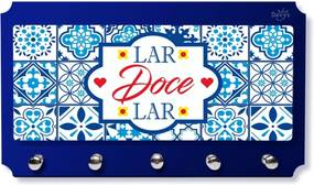 Porta Chaves Cartas Personalizado Frase Lar Doce Lar Azul