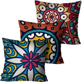 Kit com 3 Almofadas Pump UP Decorativas Azul Mandala 45x45cm