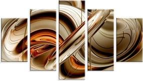 Conjunto de 5 Telas Wevans em Canvas 90x160 Abstrato Marrom