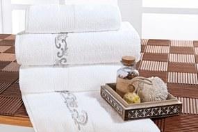 Jogo de Banho único Branca com detalhe verde Percal 200 fios com 5 peças - Toalha Verbena - Bernadete Casa