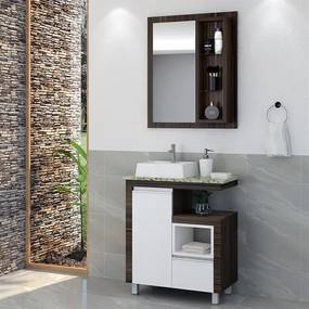 Conjunto Banheiro Otoripã C/ Cuba Ameixa / Branco / Amarelo OOL